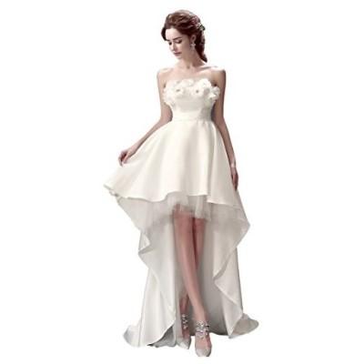 hanamaya ミニドレス 白 花嫁ドレス ウェディングドレス ミニ パーティードレス 二次会ドレス エンパイアドレス ショートドレス ヘ
