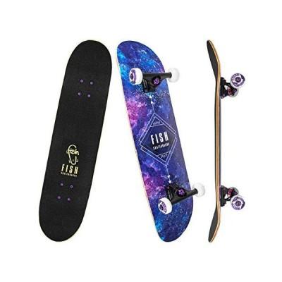 FISH SKATEBOARDS Standard Skateboard, Complete Skateboard 31''x 8'', 7 Laye