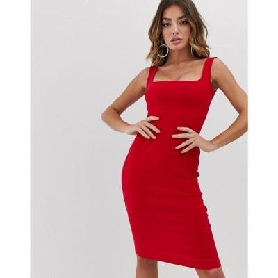 ヴェスパー Vesper レディース ワンピース ワンピース・ドレス square neck pencil dress in red Red