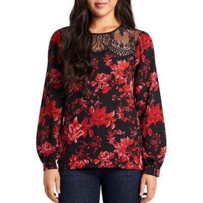 ヴィンスカムート レディース シャツ トップス Long Sleeve Lace Yoke Floral Pleat Front Blouse Rich Black