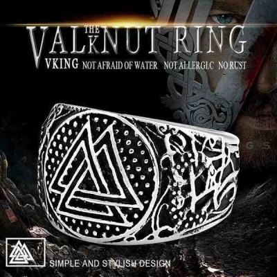 バイエル 316L ステンレス鋼高品質バイキング Valknut お守り ルーンリングオーディンのスカンジナビアのシンボル ファッション ジ