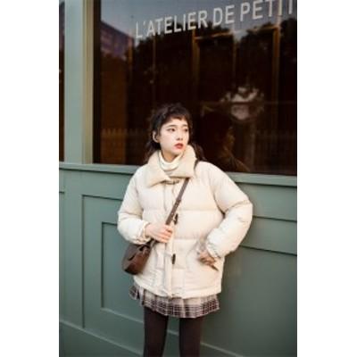 韓国ファッション 長袖 厚手 子羊の毛 綿入れダウンコート コート