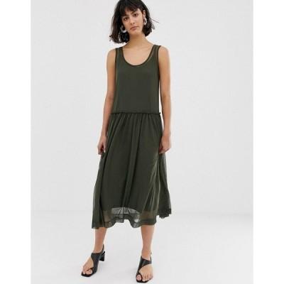セレクティッド レディース ワンピース トップス Selected Femme Printed Mesh Midi Dress Green