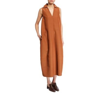 コー レディース ワンピース トップス Collared V-Neck Midi Dress with Pockets
