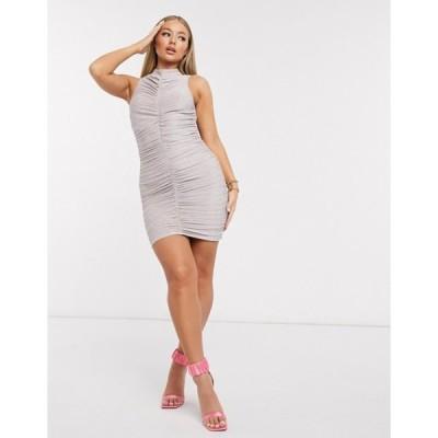 アックスパリ レディース ワンピース トップス AX Paris high neck mini dress in metallic pink
