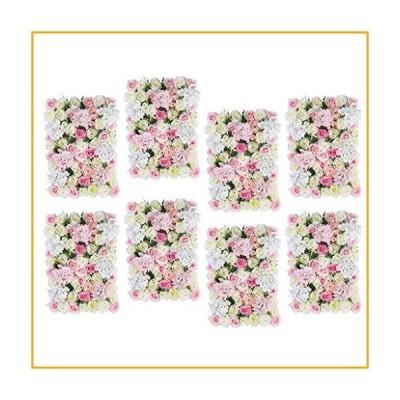 GzxLaY 8Pcs Artificial Flower Wall Wedding Backdrop Hanging Decor Props for Wedding Banquet Arrangement Shop Window Decor, Pink White【並