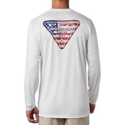 コロンビア メンズ シャツ トップス Columbia Men's PFG Terminal Tackle Triangle Long Sleeve Shirt (Regular and Big & Tall) White/U