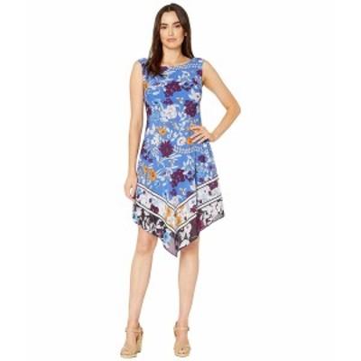 アドリアナ パペル レディース ワンピース トップス Botanical Border Printed Fit and Flare Dress with Handkerchief Hem Peri Multi