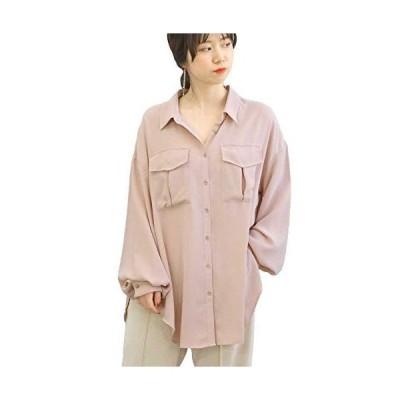 [アンドジェイ] BIGポケット ウエストリボン スリット シャツ (4541) レディース M ピンク