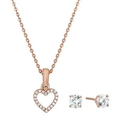 マイケルコース ネックレス/ピアス Michael Kors MKC1130AN Pave Heart Necklace and Stud Earrings Set ハート ネックレス & ピアス セット(ローズゴールド)