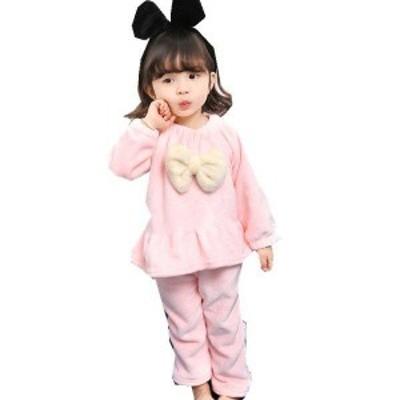 韓国子供服 キッズ ベビー パジャマ モコモコ 可愛い 子供用 90-130cm 厚手 冬 赤ちゃん 防寒着 厚手 寝巻き 上着 ズボン 女の子