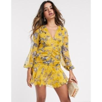 エイソス レディース ワンピース トップス ASOS DESIGN long sleeve cluster embellished mini dress in mustard floral Mustard floral