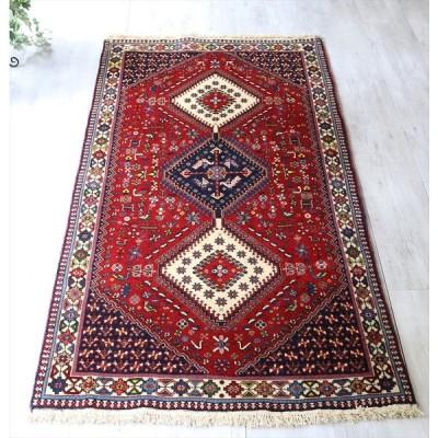 トライバルラグ・部族絨毯/イラン南部ヤラメ Yarameh セッジャーデ 199x102cmリビングサイズ/ネイビー&ホワイト・3つのダイヤドラゴンの爪