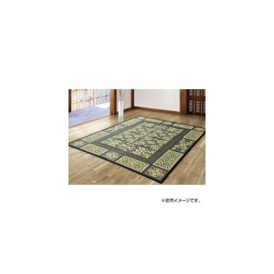 緑茶染め い草アクセントラグ ガイア 約191×191cm ネイビー TSN340665