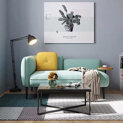 hoi!林氏木業北歐小戶型右扶手雙人布沙發 S026-天藍色 (H014263253)