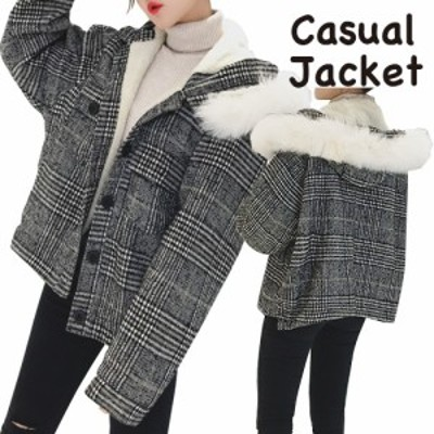 ウールコート ショート丈 レディース ボタン留め 無地 ファー付き フード付き 女子 おしゃれ 防寒