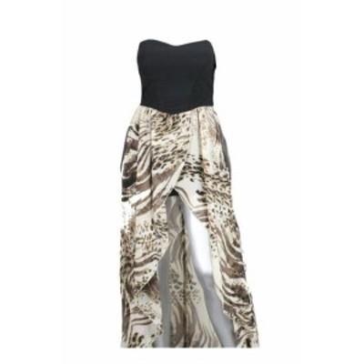 overlap オーバーラップ ファッション ドレス Ruby Rox Juniors Black Beige Animal-Print Overlap Lace Tube Dress 7