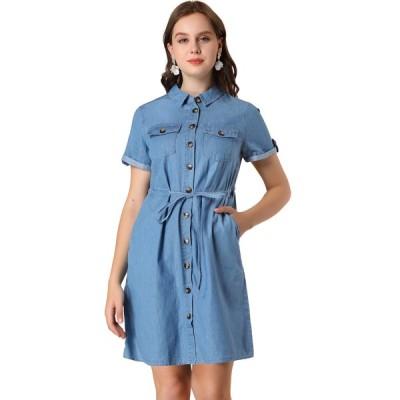 uxcell Allegra K シャツワンピース ドレス ワンピース ドレス ボタン留め 夏 半袖 シンプル レディースファッション ブルー XS