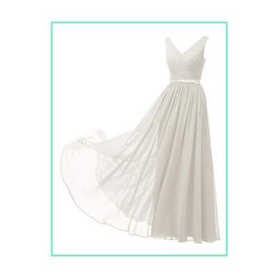 Alicepub V-Neck Chiffon Bridesmaid Dresses Plus Size Long Party Evening Formal Dress for Women Sleeveless, Ivory, US30並行輸入品