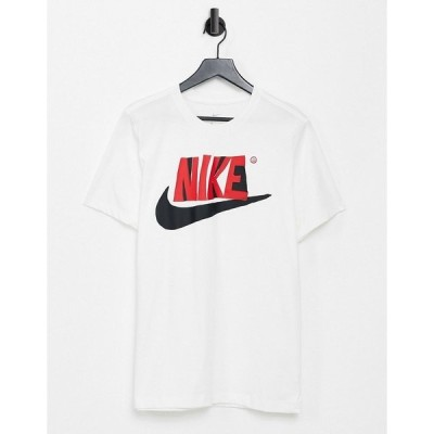 ナイキ メンズ Tシャツ トップス Nike Reverse Season logo t-shirt in white White
