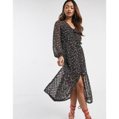 ミスセルフフリッジ レディース ワンピース トップス Miss Selfridge mesh midi dress in floral print Black