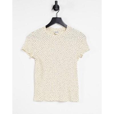 モンキ Monki レディース Tシャツ トップス Magdalena organic cotton spot fitted print t-shirt in yellow イエロー