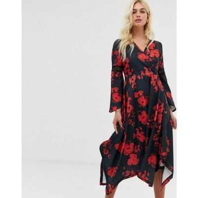ジビロンドン Zibi London レディース ワンピース ワンピース・ドレス wrap front midi dress with hanky hem Black/red