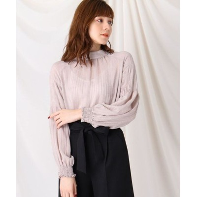 Couture Brooch/クチュールブローチ モールストライプスタンドネックブラウス ライトグレー(011) 38(M)