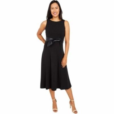 カルバンクライン Calvin Klein レディース ワンピース ワンピース・ドレス Midi Dress with Faux Leather Belt Black
