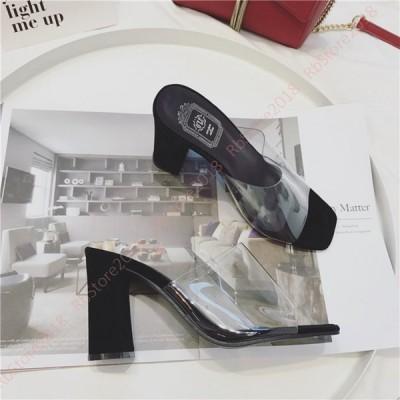 レディース クリアサンダル スクエアトゥ ミュール ベルト ハイヒール チャンキー ファッション カジュアル コンフォート 太ヒール 美脚 靴 カバー 疲れない