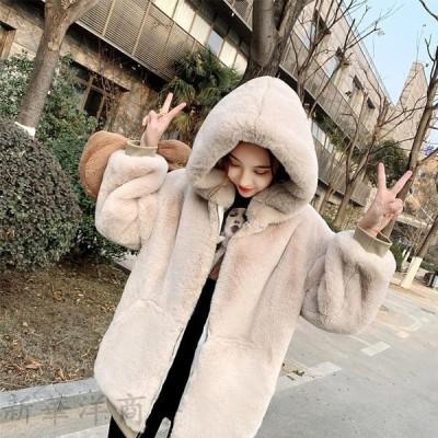 ボアブルゾン レディース パーカー ボジャケットフード付き 韓国風 秋冬 アウターコート もこもこ 防寒 冬 ゆったり アウトドア 暖かい あったか 20代-50代