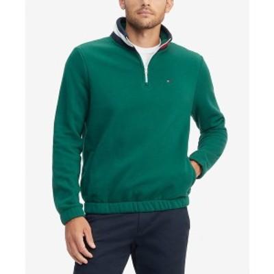 トミー ヒルフィガー メンズ パーカー・スウェットシャツ アウター Men's Flags Classic-Fit 1/4-Zip Sweatshirt Azure Lagoon