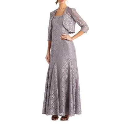 アールアンドエムリチャーズ レディース ワンピース トップス Petite 3/4 Sleeve Scalloped Lace Jacket Dress