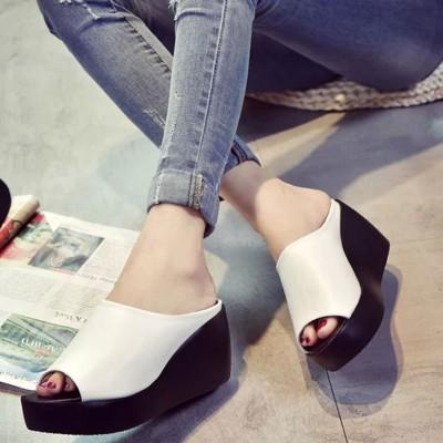 ミニミニストア miniministore 厚底サンダル レディース ウェッジソール ミュールサンダル オープントゥ 歩きやすい 靴 (ホワイト)