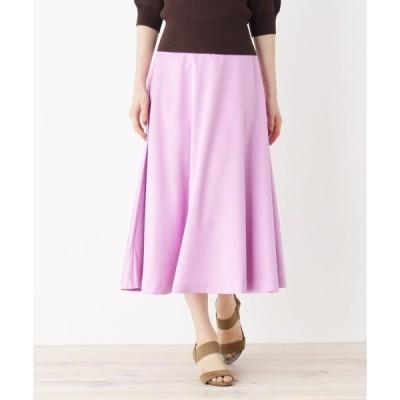 スカート 【洗える・WEB、一部店舗限定】サテンフレアスカート