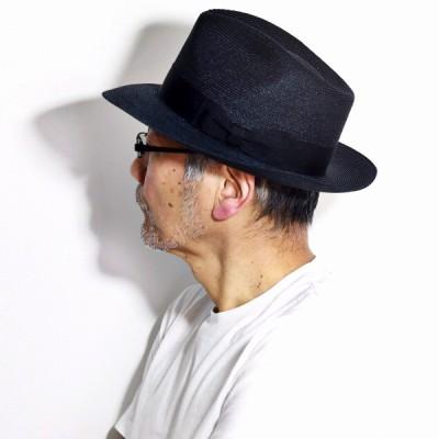 STETSON 春 夏 ストローハット ワイドブリム リボン 麦わら帽子 アメリカ製 ステットソン ハット 帽子 中折れハット メンズ 黒 ブラック