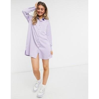 ローラ メイ レディース ワンピース トップス Lola May shirt dress in purple stripe