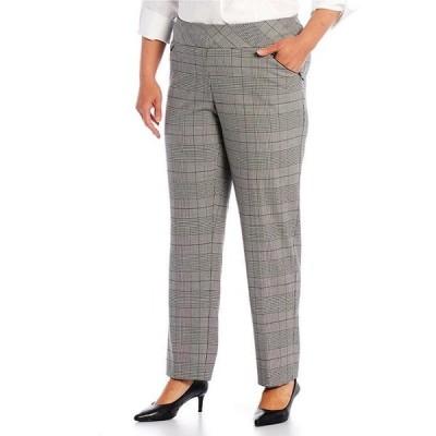 インベストメンツ レディース カジュアルパンツ ボトムス Plus Size the PARK AVE fit Straight Leg Pull-On Plaid Print Pants