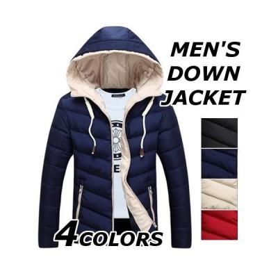 ダウンジャケットメンズ中綿ジャケットおしゃれブランド無地柄黒フード付きジャケットアウター大きいサイズ秋冬15040代50代