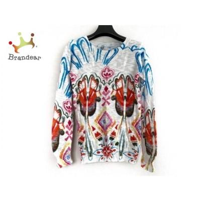 デシグアル Desigual 長袖セーター サイズM レディース アイボリー×マルチ スパンコール  値下げ 20210109