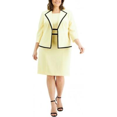 ル スーツ Le Suit レディース スーツ・ジャケット 大きいサイズ アウター Plus Size Contrast-Trim Dress Suit Butter/Black