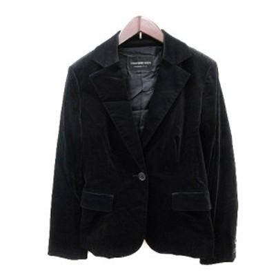 【中古】ストロベリーフィールズ STRAWBERRY-FIELDS テーラードジャケット シングル ベルベット 総裏地 黒 ブラック