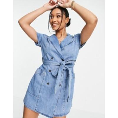 エイソス レディース ワンピース トップス ASOS DESIGN soft denim double breasted shirt dress in midwash Blues