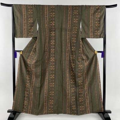 小紋 名品 紬地 縦縞 草花 茶緑色 袷 身丈161cm 裄丈66.5cm M 正絹 中古 PK70
