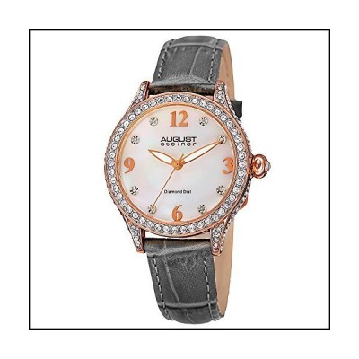 August Steiner Women 's as8188gyローズゴールドCrystal Accented Quartz Watch withホワイト母のパールダイヤルとグレー