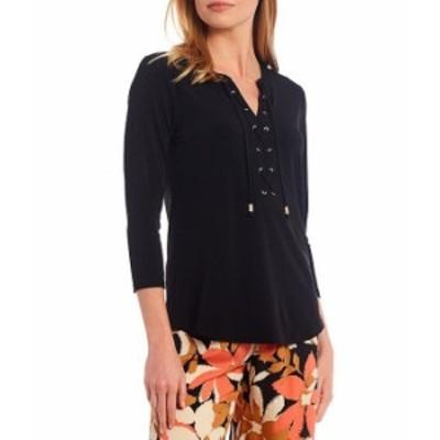 カルバンクライン レディース Tシャツ トップス Matte Jersey Lace Up Front 3/4 Sleeve Top Black