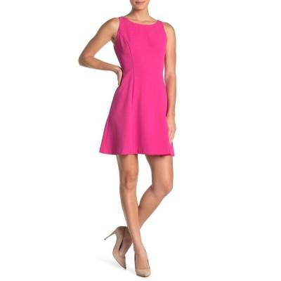 エリザジェイ レディース ワンピース トップス Sleeveless Crepe Fit and Flare Dress PINK