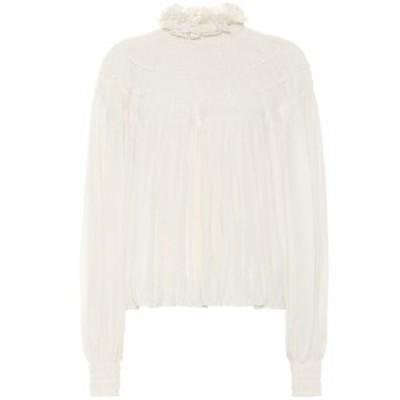 クロエ Chloe レディース ブラウス・シャツ トップス Silk-georgette blouse Whisper White