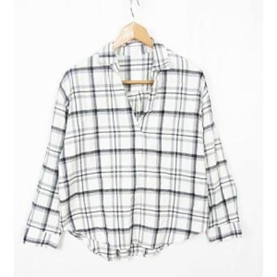 【中古】ビス ViS スキッパーシャツ コットン チェック L ホワイト rb0608 レディース