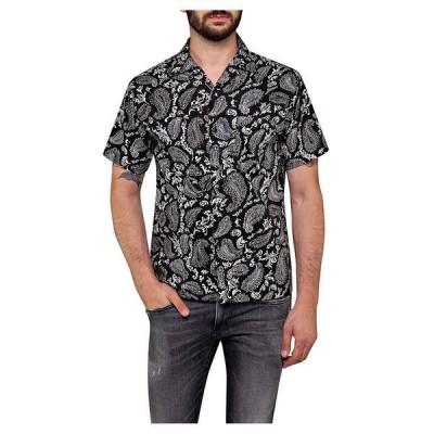 リプレイ シャツ メンズ トップス Replay M4985 Shirt Black / Ice Paisley